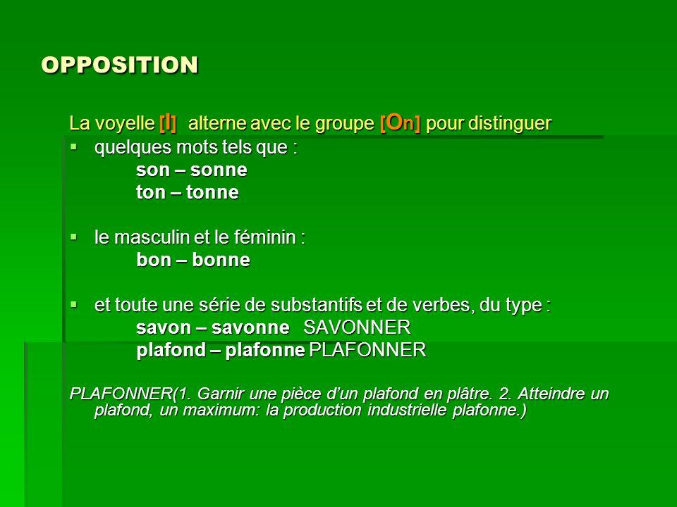 OPPOSITION La voyelle [I] alterne avec le groupe [On] pour distinguer